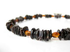 Men's Jewelry handmade from real amber and black shell by AuthenticMen.