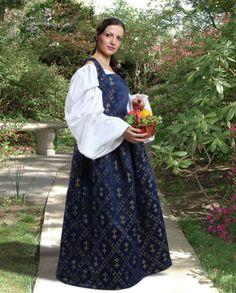 Women's Medieval Renaissance Fleur de Lis Dress Costume Halloween - Navy Blue #Dress
