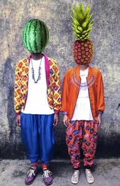 Two brave victims of the rare, disfiguring Fruit Face disease. Photocollage, Tropical Style, Fruit Art, Illustrations, Collage Illustration, Trends, Mode Inspiration, Textile Design, Dame
