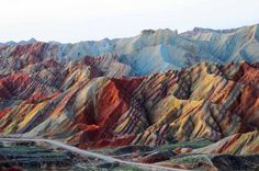 Striped mountains in China. - Zhangye Danxia Landform Geological Park in Gansu, China, Places Around The World, Oh The Places You'll Go, Places To Travel, All Nature, Science And Nature, Earth Science, Zhangye Danxia Landform, Beautiful World, Beautiful Places