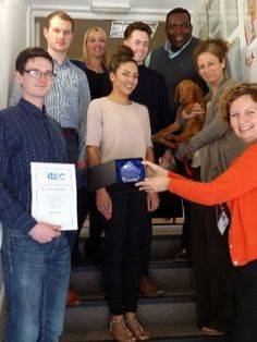 ITEC Employer Recognition Award - •Marc Jacob, on behalf of Forces Homes is pictured receiving the Employer Recognition Award from ITEC Work Based Learning Tutor Wendy Houston surrounded by his colleagues, Will and Jo Brown, founders of Forces Homes and ITEC's Managing Director Tracy Wilson.