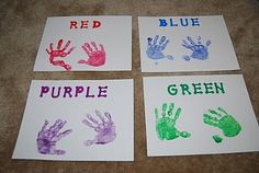 Handprint Color Sorting - could also use for color mixing (ex: one blue, one yellow, have children rub their hands together to make two green) Preschool Lessons, Preschool Learning, Preschool Activities, Preschool Colors, Teaching Colors, Toddler Art, Toddler Learning, Toddler Classroom, Toddler Preschool