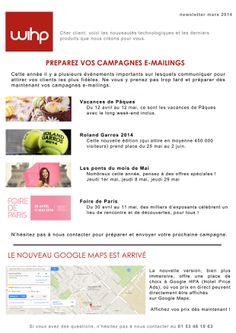 WIHP- Newsletter : Campagnes E-mailings et la nouvelle Google Maps