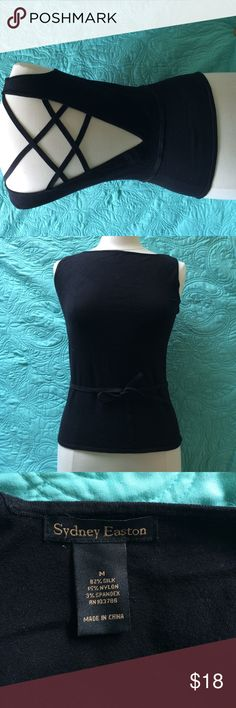 Sexy Crisscross Back - NWOT - Black Top Silk - Nylon - Spandex Top with self  tie at waist & a fantastic crisscross back! A real show stopper!  Fabric feels wonderful. NWOT By: Sydney Easton Tops