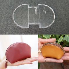 Leather Craft Coin Purse Shell Type Mini Bag Acrylic Template Pattern Stencil #Unbranded