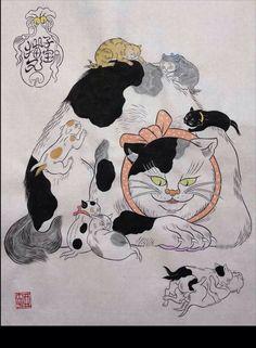 個展告知です! 11/1〜11/10.青山ビリケンギャラリーさん@BILLIKENSHOKAI にて 「石黒亜矢子 化け猫展」を開催します。 只今作品制作に熱いです! 画像はDMの親子の化け猫絵です。よろしくどうぞお願いいたします!