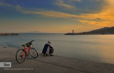 fishing time - Pinned by Mak Khalaf Landscapes cloudsfishermanfishingskysunsetwater by aergenea