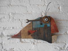 MULLUS BARBATUS Metal Fish, Wooden Fish, Paper Mache Sculpture, Fish Sculpture, Fish Wall Art, Fish Art, Wood Block Crafts, Wood Projects, Driftwood Fish