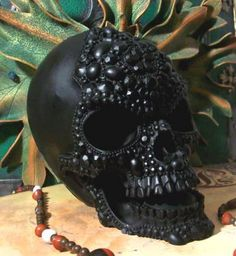 Big BLACK Beaded Pearl Beeswax Skull Candle by DarknessVoid, $49.00