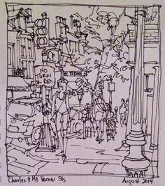 Jody Regan Paints: Charles and Mount Vernon Streets - pen & ink