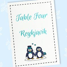 Penguin wedding table name or number cards featuring two sweet penguins dressed for a wedding. The cards have a table name and/or number printed. Wedding Table Names, Wedding Reception Tables, Wedding Dinner, Wedding Events, Wedding Day, Penguin Wedding, Table Numbers, Wedding Stationery, A Table