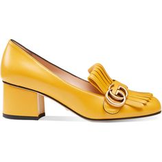 Gucci Leather Mid-Heel Pump ($650) ❤ liked on Polyvore featuring shoes, pumps, heels, footwear, loafers, women, yellow, leather shoes, yellow pumps and yellow heeled shoes