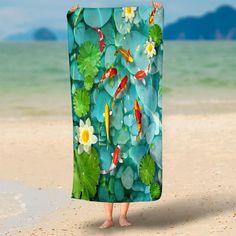 Goldfish Lotus Microfiber Beach Towel