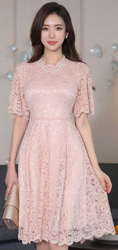 StyleOnme_Romantic Lace Flared Dress #lace #pastel #pink #elegant #pretty #feminine #springtrend #koreanfashion #kstyle #kfashion #seoul #dress #lovely #romantic