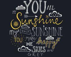 Hand mit Buchstaben Typografie Print You are my von JenRoffePrint
