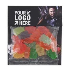 """Large Billboard Full Color Header Candy Bag- Gummy Bears! Present your valued customers, potential clients or dedicated employees with a header card candy bag of tasty treats! Print on both sides of the header card for maximum exposure. Filled with gummy bears candy, these darling """"Thank You"""" gifts would be ideal for charity fundraisers, tradeshows and corporate picnics. As low as $1.78 #gummybears"""