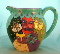 "1998 Laurel Burch Whimsical Art Five Feline Kitty Cat Design Large 9"" Pitcher | eBay"