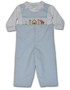 Hand Smocked Nativity Lt Blue Boy's Longall with Shirt