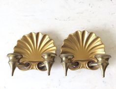 Vintage Pair of Heavy Solid Laquered Brass by YellowHouseDecor