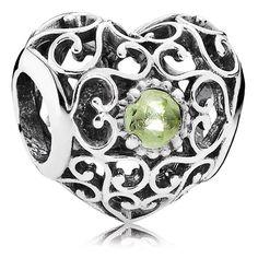 PANDORA August Signature Heart with Peridot Charm