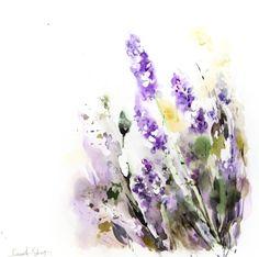 Acuarela ORIGINAL de lavanda Floral moderna pintura por CanotStop