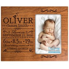 Personalized birth announcement picture frame w stats baby name personalized new baby birth announcement picture frame for newborn boys and girls custom engraved photo frame negle Image collections