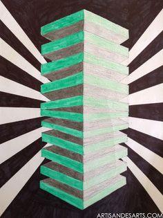 artisan des arts: Stacked Square Optical Illusion - grade 6