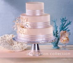 3 tiered round cake; white and silver ribbons