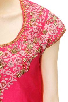 Bright pink and mint green embroidered kurta set available only at Pernia's Pop Up Shop.