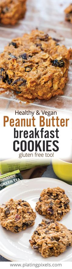 Healthy cookies for breakfast with Healthy Vegan Peanut Butter Breakfast Cookies. Peanut butter, banana, oats, whole wheat and dried fruit. Super chewy cookies full of protein, fiber and nutrients. No sugar added, naturally sweetened and with a gluten free option. Breakfast has never tasted so good. - www.platingpixels.com.