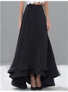 Black Falbala Long Maxi Skirt - m.tbdress.com