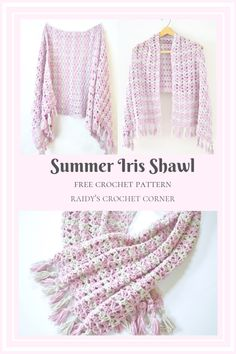 The Summer Iris Shawl - Free Crochet Pattern - Raidy's Crochet Corner This shawl pattern uses the Iris Stitch and cotton yarn, which creates a beautiful drape, perfect for Spring and Summer. The free crochet pattern features a detailed photo tutorial. Crochet Prayer Shawls, Crochet Shawl Free, Crochet Wrap Pattern, Modern Crochet Patterns, Crochet Poncho Patterns, Crochet Shawls And Wraps, Crochet Scarves, Crochet Clothes, Tutorial Crochet
