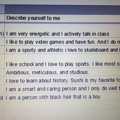 """Kids are seriously the best. I teach 6th and 9th grade Islamic Studies on Saturdays at ISCJ here in NJ. Each year I have students and parents fill out a google form I made so I can get to know them better and design the class with them in mind. These are some responses from this year's 6th graders for the """"describe yourself to me"""" question. I couldn't help but smile at the """"I am a person with black hair that is a boy"""" answer. Kids are such a great reminder of innocence and authenticity…"""