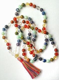 Seven Chakra Balancing Mala Necklace Chakra Mala by MountainMalas