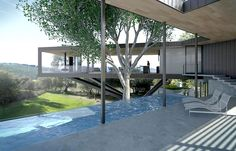 This modern moat set on the Napa River doubles as a swimming pool