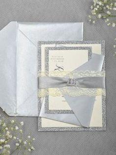 Silver Glitter Wedding Invitation -  Lace Grey Invitation