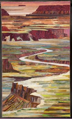 "Kathy Schattleitner's beautiful quilt ""Canyon Lands"". This landscape art quilt won a Member's Choice award in the 2013 Road to California exhibit at Ontario, Calif. Landscape Art Quilts, Landscape Paintings, Landscape Edging, Quilting Projects, Quilting Designs, Quilt Modernen, Art Textile, Fabric Art, Oeuvre D'art"