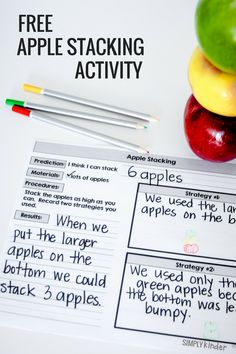 Kindergarten Apple Science - Free Apple Stacking STEM Activity
