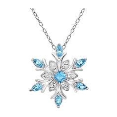 MLG Jewelry Sterling Silver Blue and White Crystal Snowflake... ($40) ❤ liked on Polyvore featuring jewelry, necklaces, pendants & necklaces, crystal necklace, snowflake pendant necklace, snowflake necklace and sterling silver chain necklace