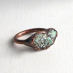 Turquoise Ring Raw Gemstone Birthstone Cocktail by MidwestAlchemy, $72.50