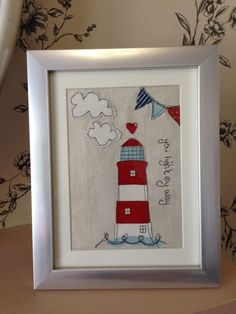 Personalised Light House Beach Hut Make a card Freehand Machine Embroidery, Free Motion Embroidery, Free Machine Embroidery, Embroidery Applique, Fabric Cards, Fabric Postcards, Sewing Crafts, Sewing Projects, Applique Cushions