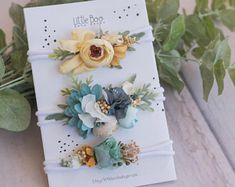 Tieback Collection- teal yellow white - set of 3 newborn toddler child adult headband- organic floral flower crown