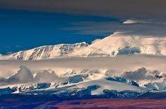 Mt Sanford, Wrangell-St Elias National Park in Alaska. Seen from the Nabesna Road.