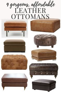 Tons of options for affordable, beautiful leather ottomans. If you want to use an ottoman for a coffee table, this post will have the perfect one for you! Coffee Table Decor Living Room, Blue Living Room Decor, Home Coffee Tables, Unique Coffee Table, Ottoman In Living Room, Decorating Coffee Tables, Diy Leather Ottoman, Leather Ottoman Coffee Table, Leather Cocktail Ottoman