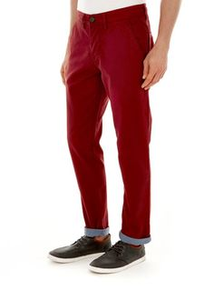 Red Tapered Slim fit Chinos