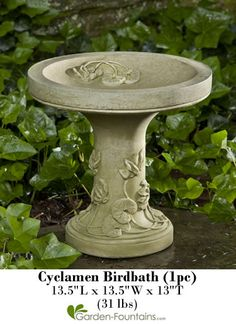 The Cyclamen Birdbath is a beautiful bird bath, small enough to be placed on tabletops or patios!