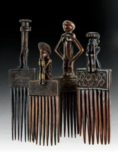 Four hair combs from the Chokwe people of DR Congo of  wood and copper