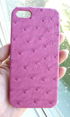 Pink Ostrich Leather protection case cover for Apple Iphone 5 5s on Etsy, $35.00