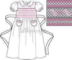 White geometric and flower hand smocked dress for little girl  http://lewave.co.uk/Detail-white-geometric-and-flower-hand-smocked-dress-for-little-girl---ld-095-4070.aspx