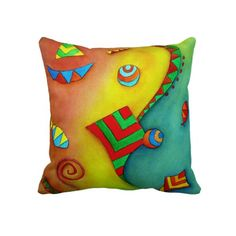 Abstract Ocean Colorful Art Throw Pillow by SimonaMereuArt $63.50